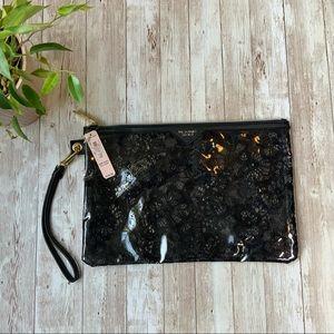 VICTORIA'S SECRET black lace cosmetic bag